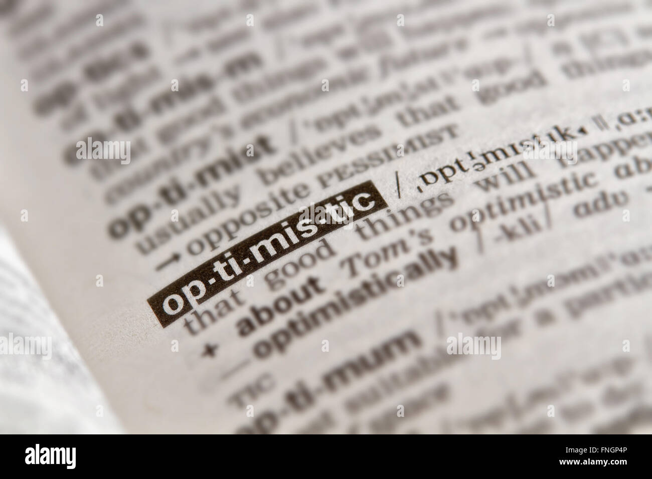 Optimistic Word Definition Text in Dictionary Page - Stock Image