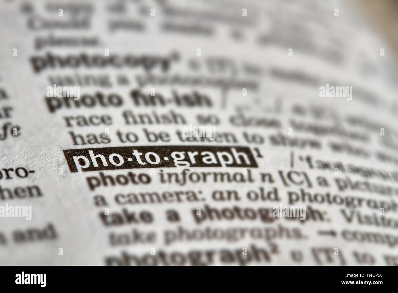 Photograph Word Definition Text in Dictionary Page Stock Photo