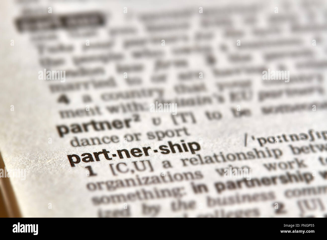 Partnership Word Definition Text in Dictionary Page - Stock Image