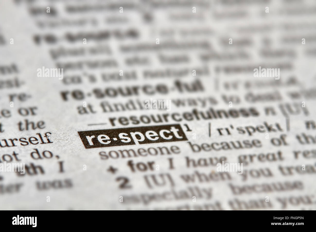 Respect Word Definition Text in Dictionary Page - Stock Image