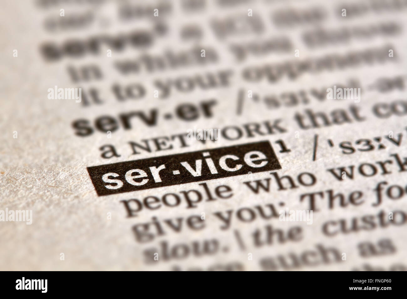 Service Word Definition Text in Dictionary Page - Stock Image