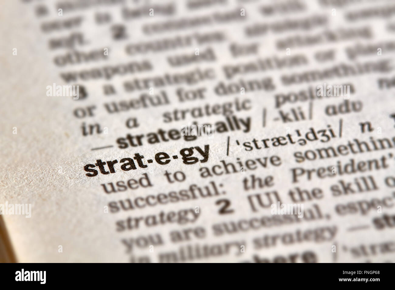 Strategy Word Definition Text in Dictionary Page - Stock Image