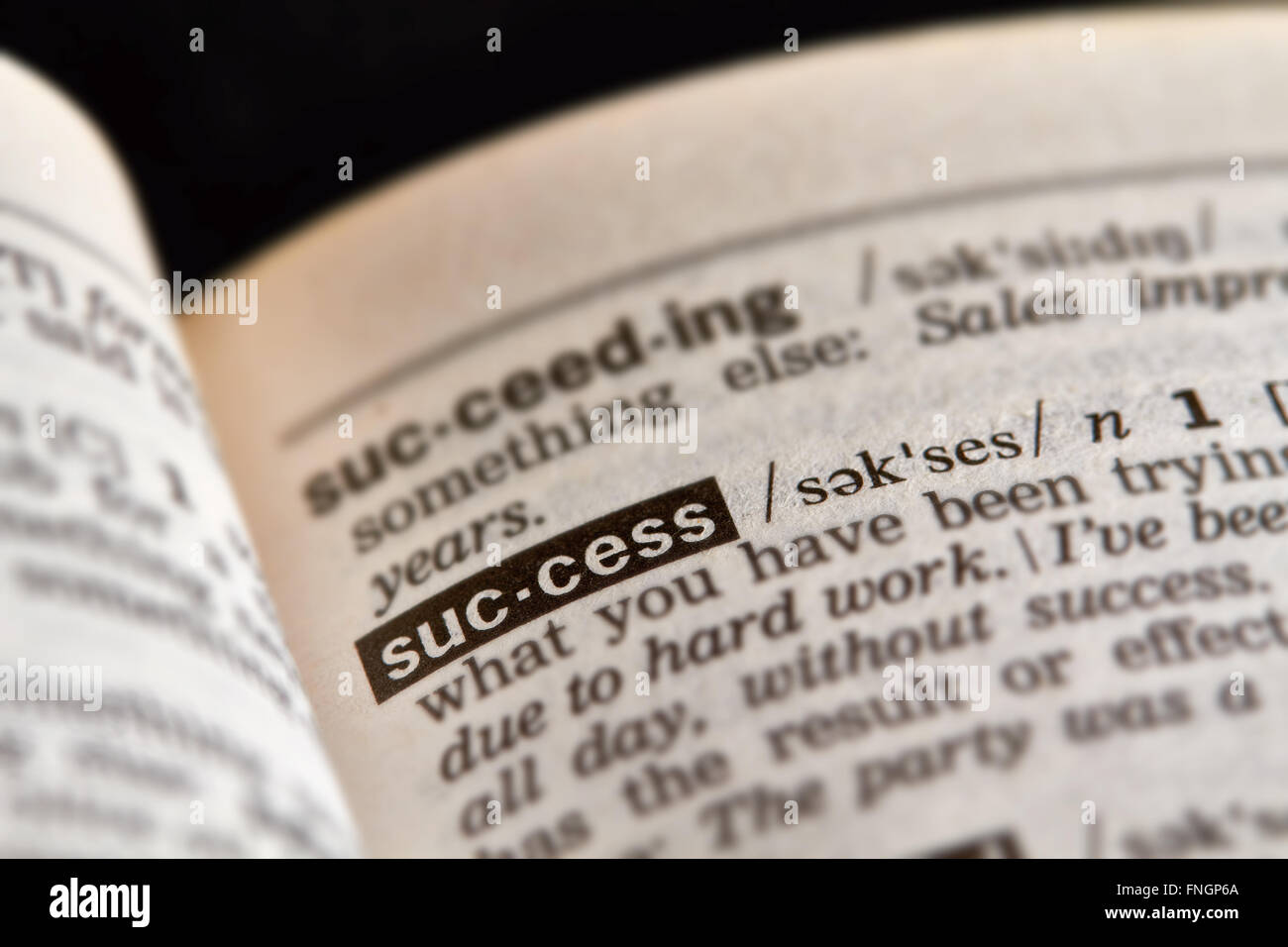 Success Word Definition Text in Dictionary Page - Stock Image