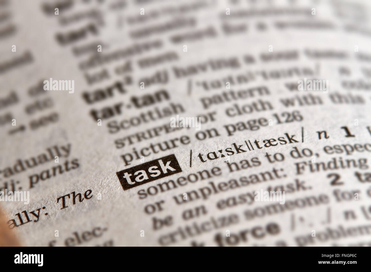 Task Word Definition Text in Dictionary Page - Stock Image