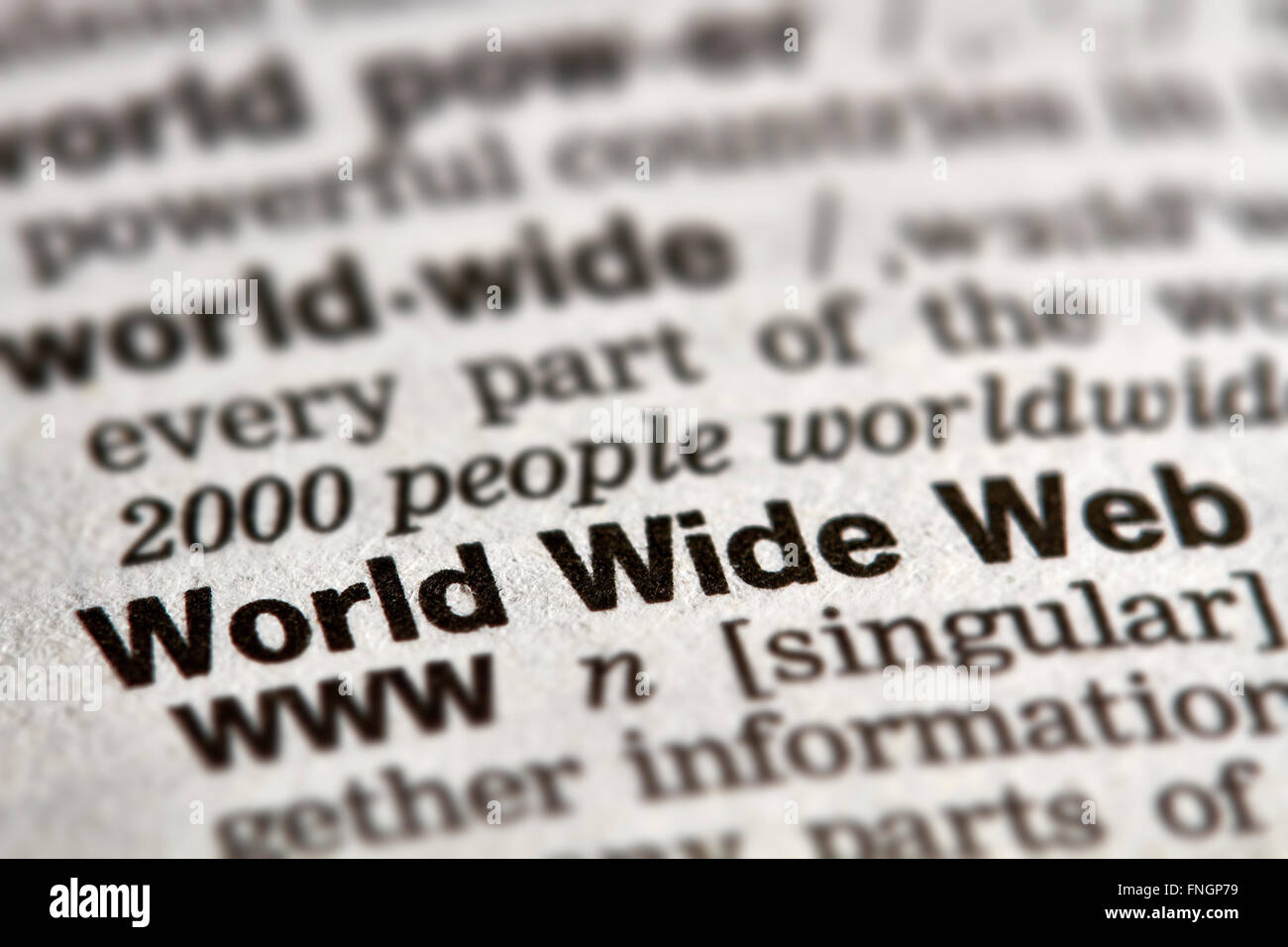 World Wide Web Word Definition Text in Dictionary Page - Stock Image