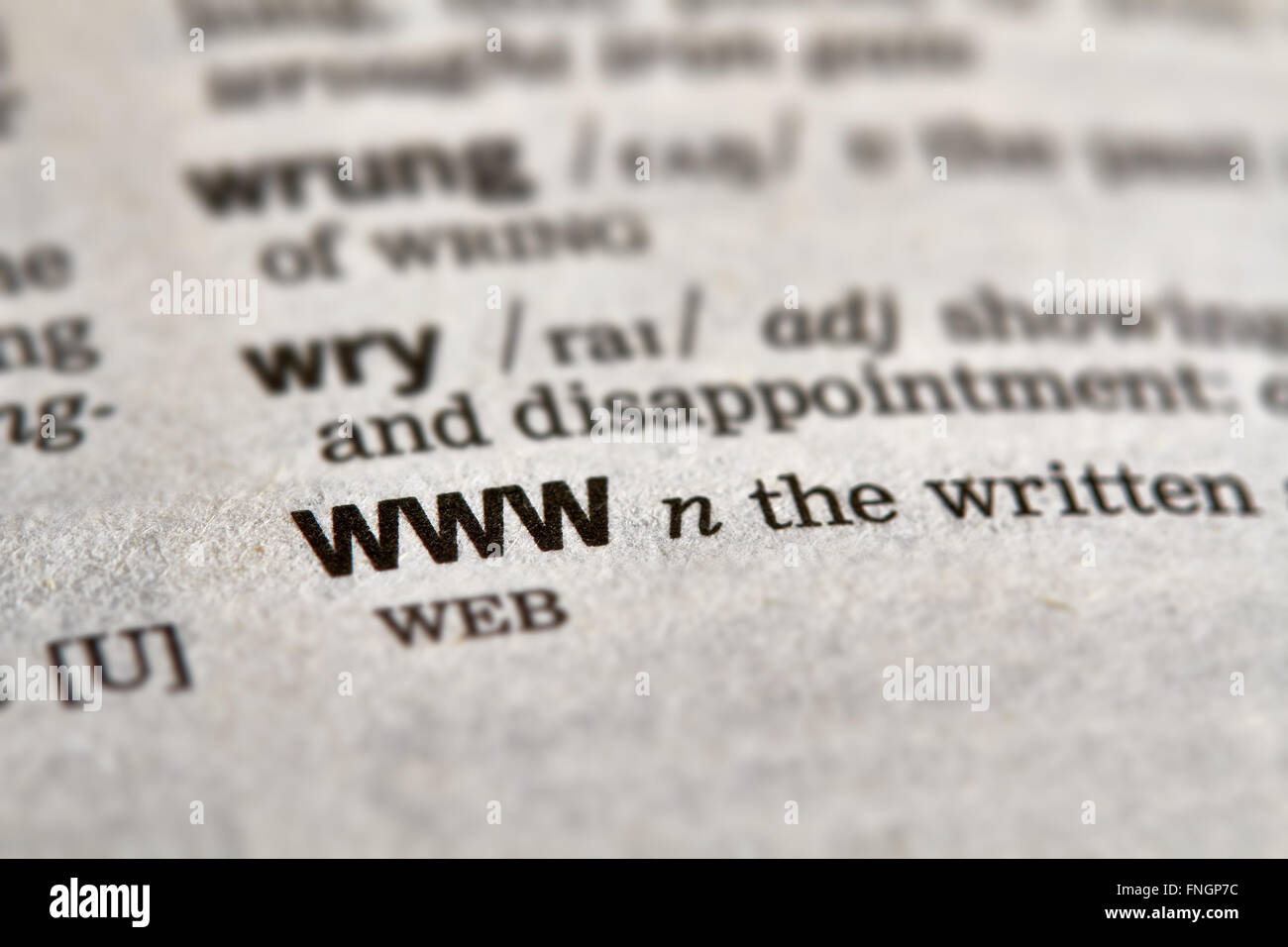 WWW Word Definition Text in Dictionary Page - Stock Image