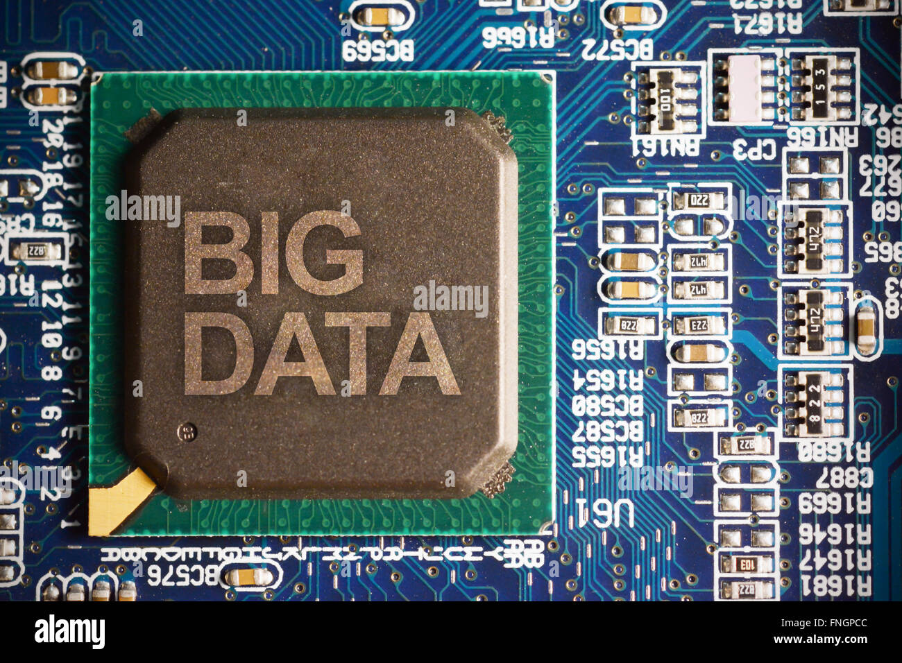 Big data concept with computer motherboard macro close up - Stock Image