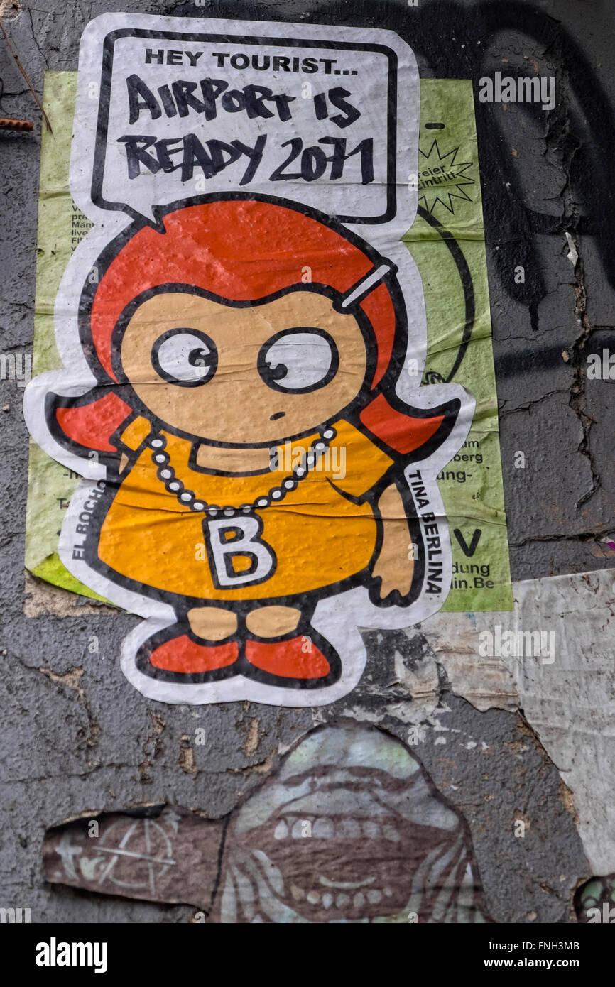 Berlin Street Art. Tina Berlina series by El Bocho. - Stock Image