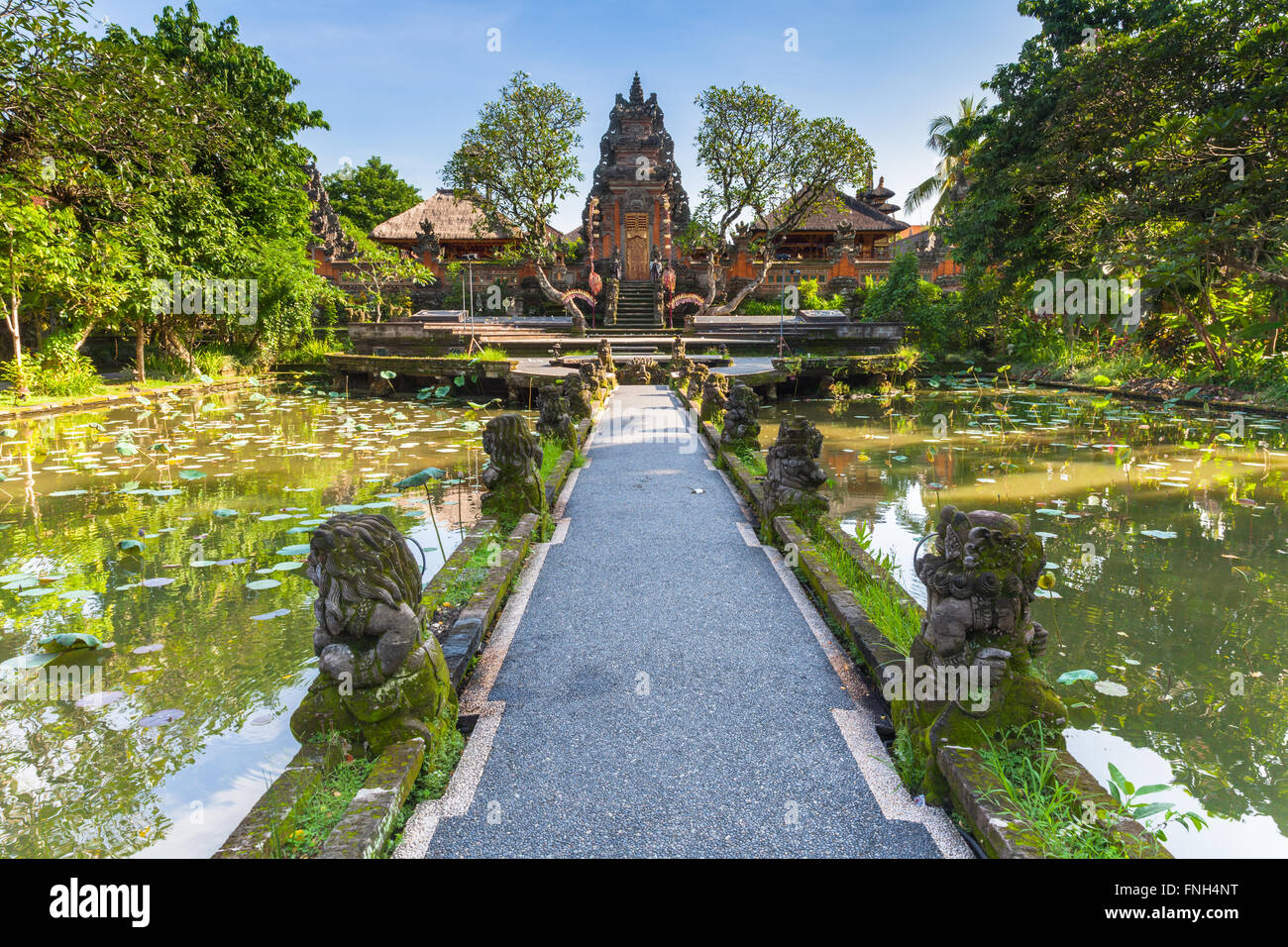 Pura Saraswati Temple with beatiful lotus pond, Ubud, Bali, Indonesia - Stock Image