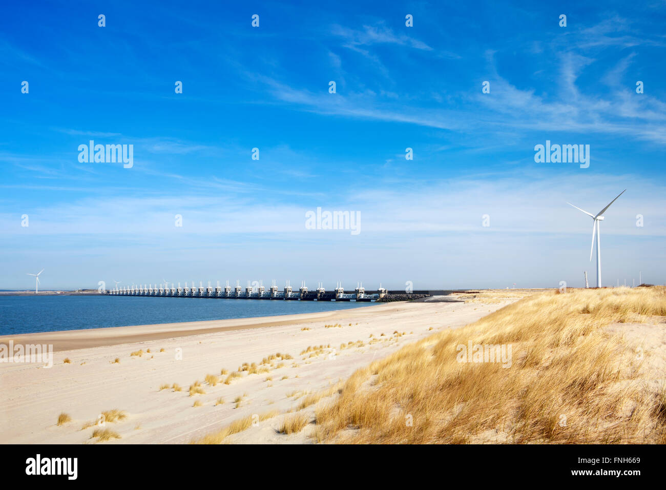 The Eastern Scheldt storm surge barrier (Oosterscheldekering) in the Dutch province of Zeeland. This is the largest - Stock Image