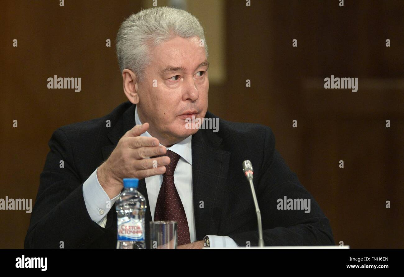 Moscow Mayor Sergei Sobyanin during a meeting of the State Council on traffic safety issues March 14, 2016 in Yaroslavl, - Stock Image