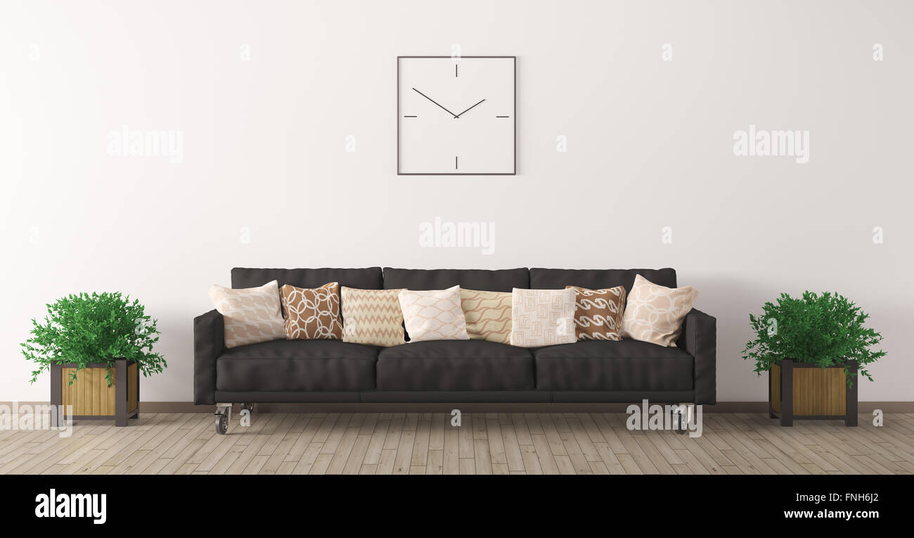 Modern interior of living room with black sofa, clock and plants 3d ...