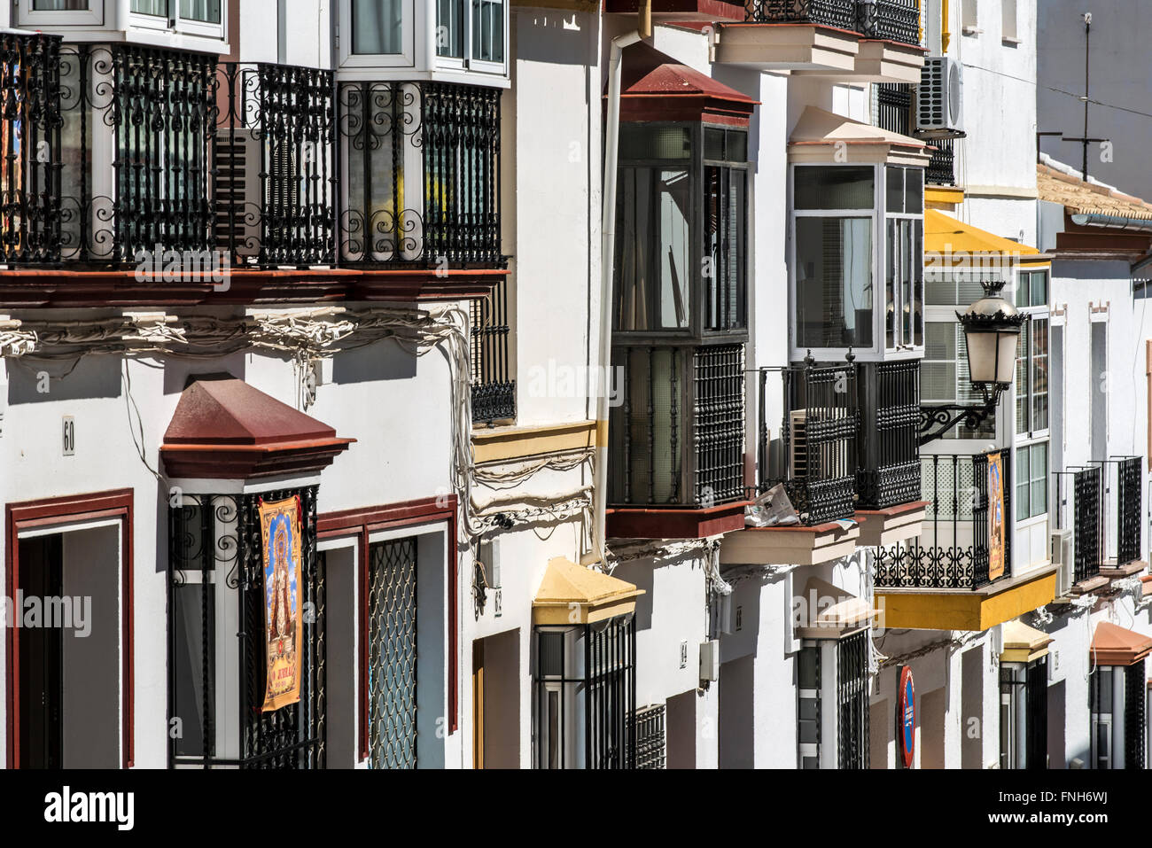 Building with bow windows in Olvera, Andalusia, Spain - Stock Image