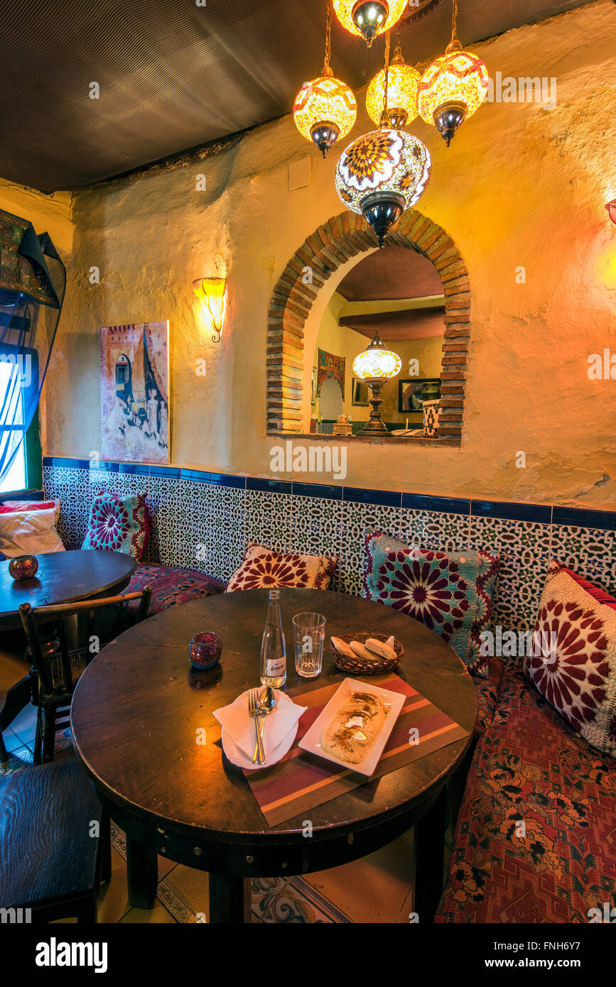 Interior of a Moroccan style teteria or teahouse in the Albayzin quarter, Granada, Andalusia, Spain Stock Photo