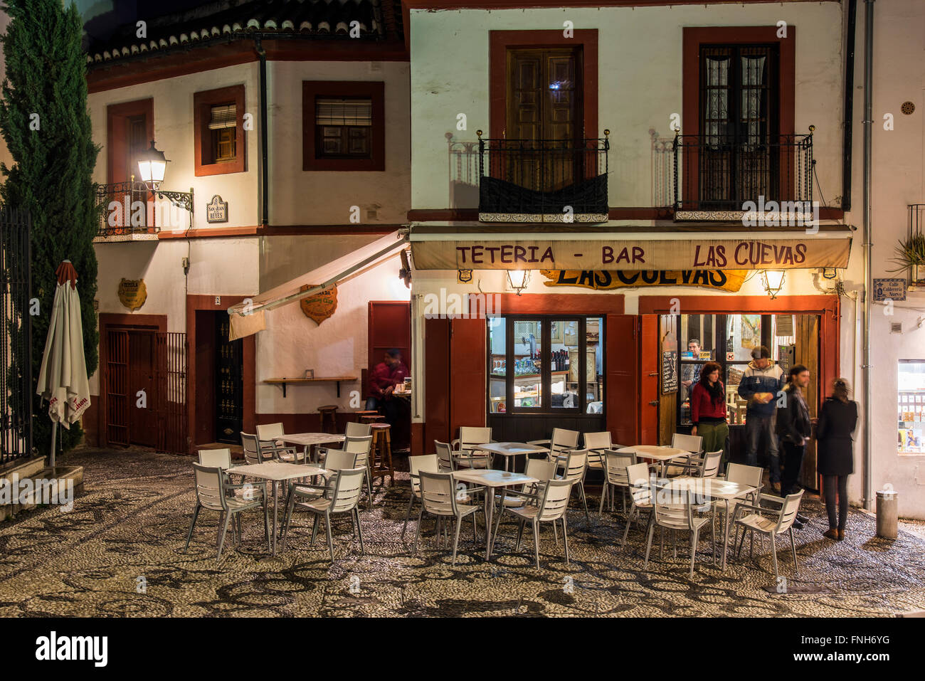 Nightlife atmosphere in the Albayzin quarter, Granada, Andalusia, Spain Stock Photo