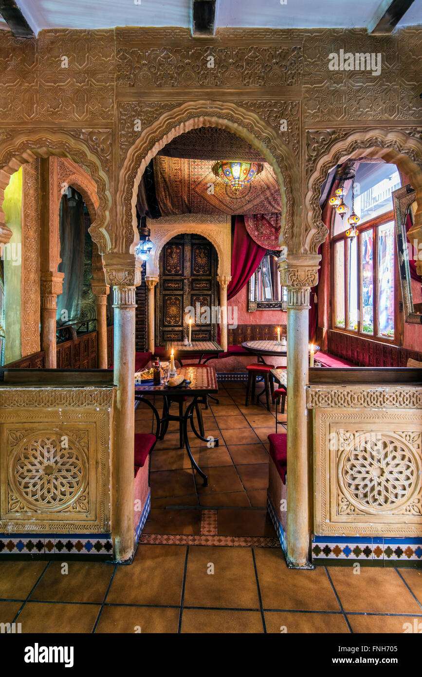 Interior of a Moroccan style teteria or teahouse in the Albayzin quarter, Granada, Andalusia, Spain Stock Photo
