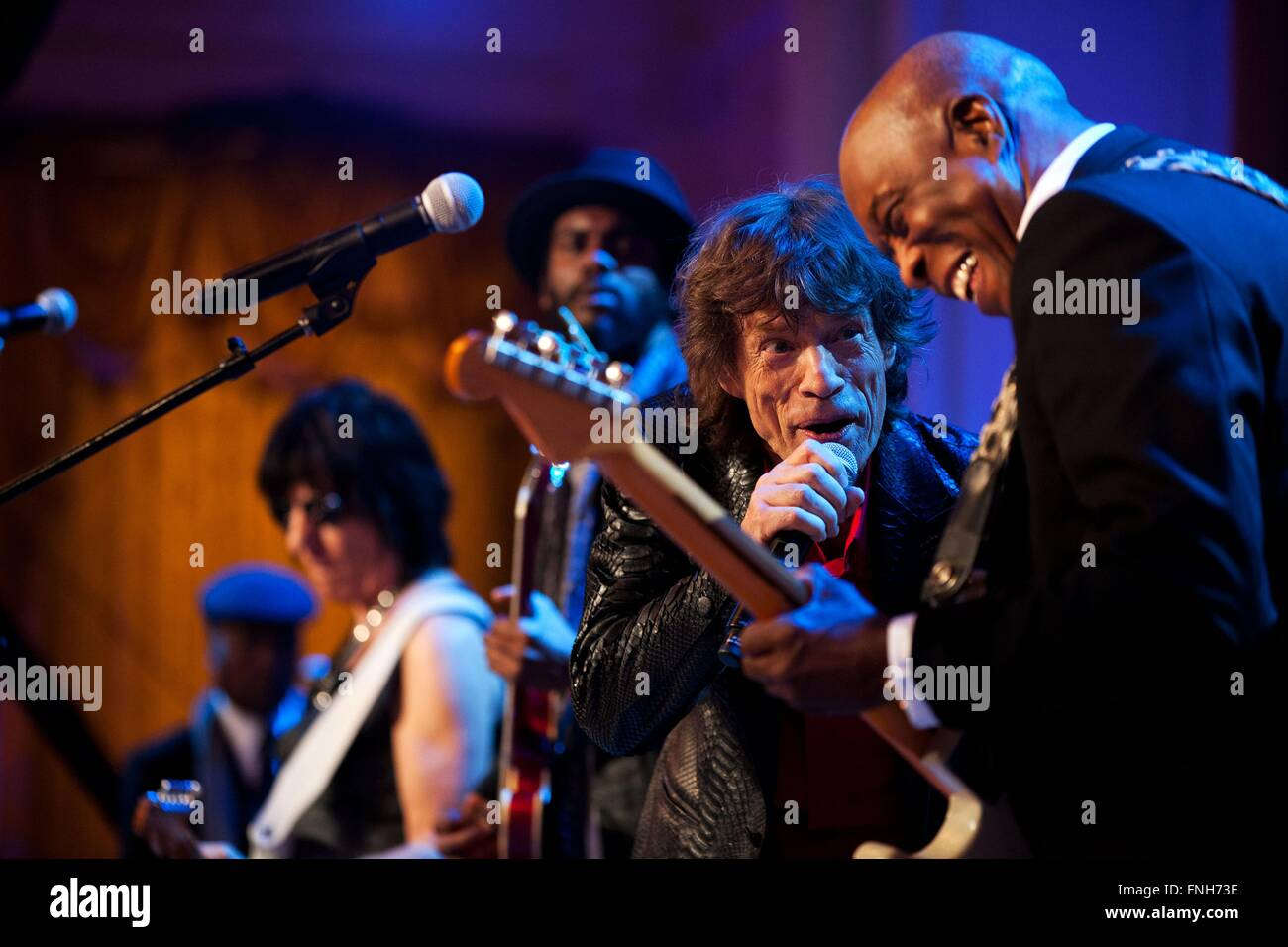 Mick Jagger performs during the In Performance at the White House: Red, White and Blues concert in the East Room - Stock Image