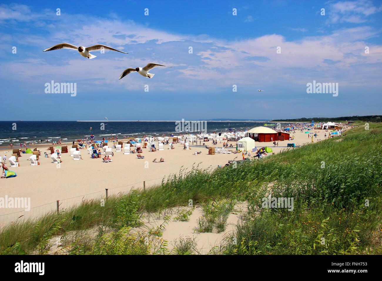 Popular Baltic sea beach on Usedom island in Swinoujscie, Poland Stock Photo
