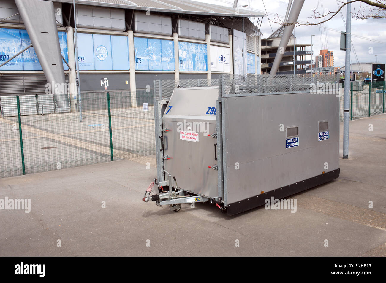Police portable steel cordons, closed outside a UK football ground. 200 of them were purchased by the Home Office - Stock Image
