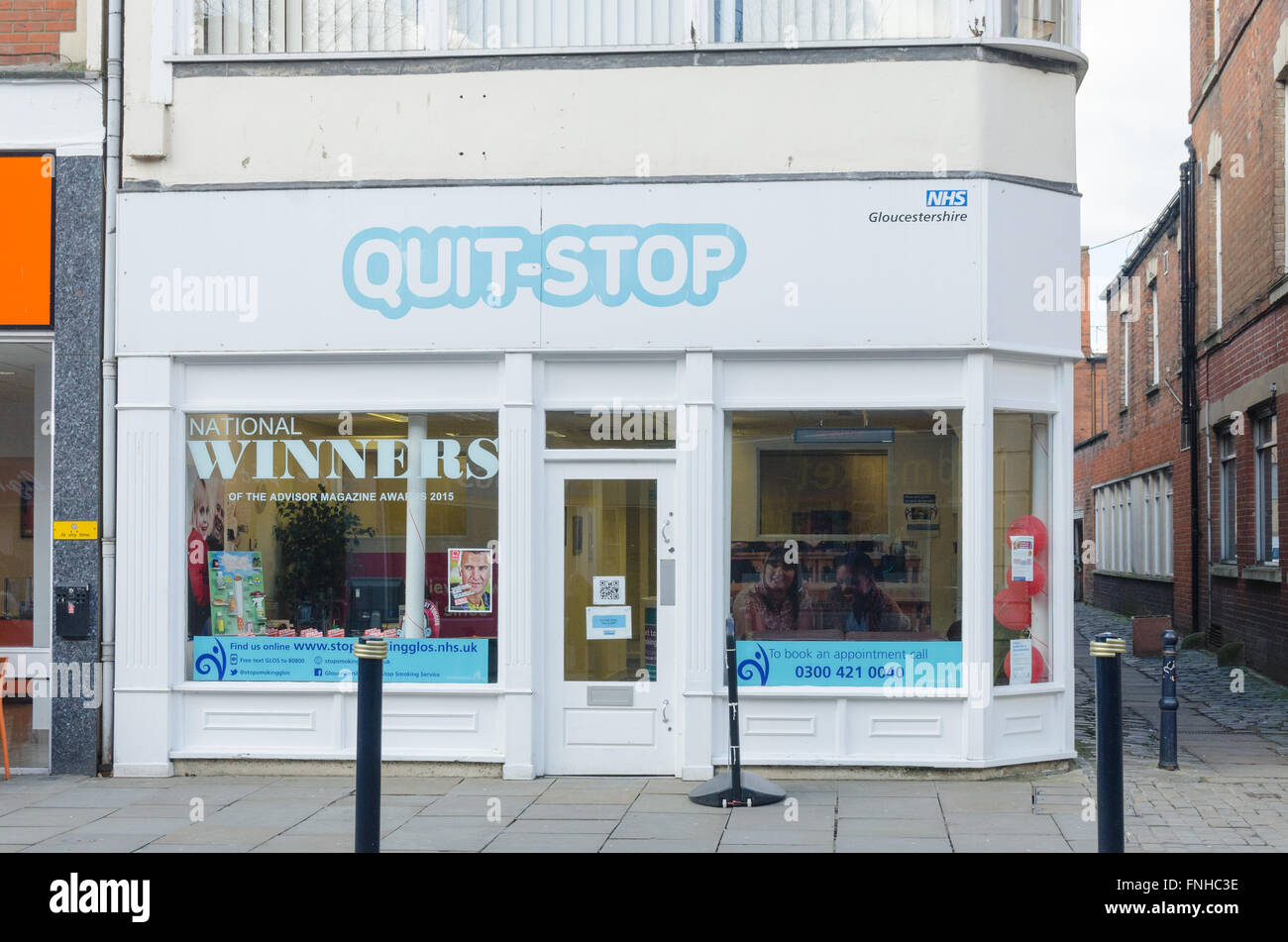 Quit-Stop nhs drop-in stop smoking centre in Gloucester - Stock Image