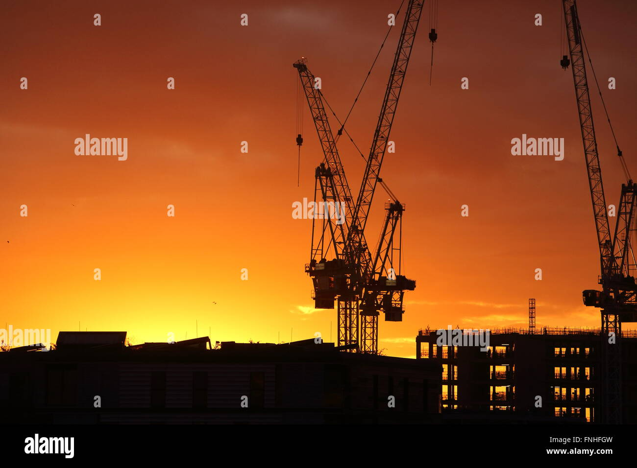 Silhouette of cranes and construction work at sunset, at Kings Cross, north London, England, UK - Stock Image