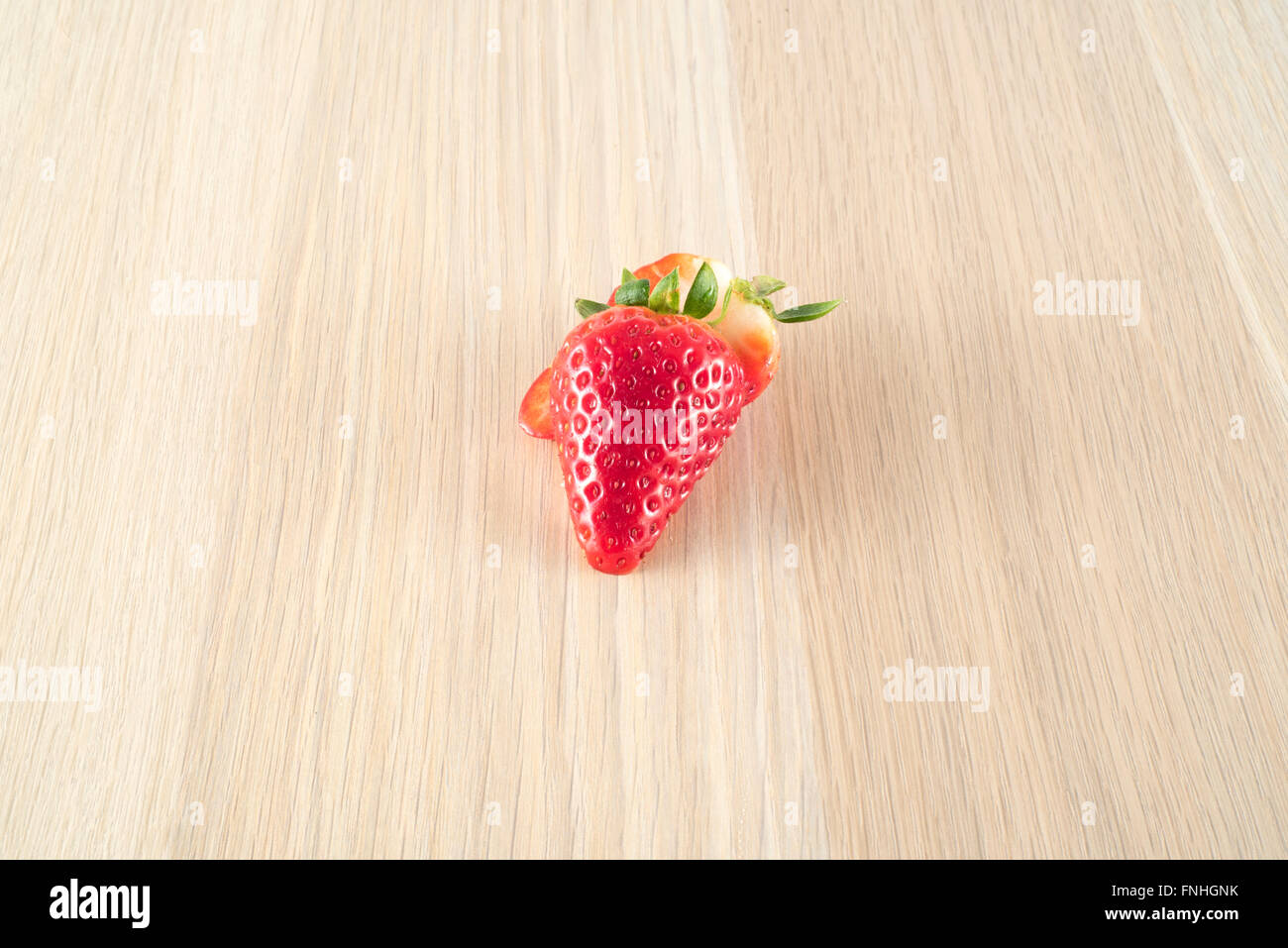 Strawberry on wooden table - Stock Image