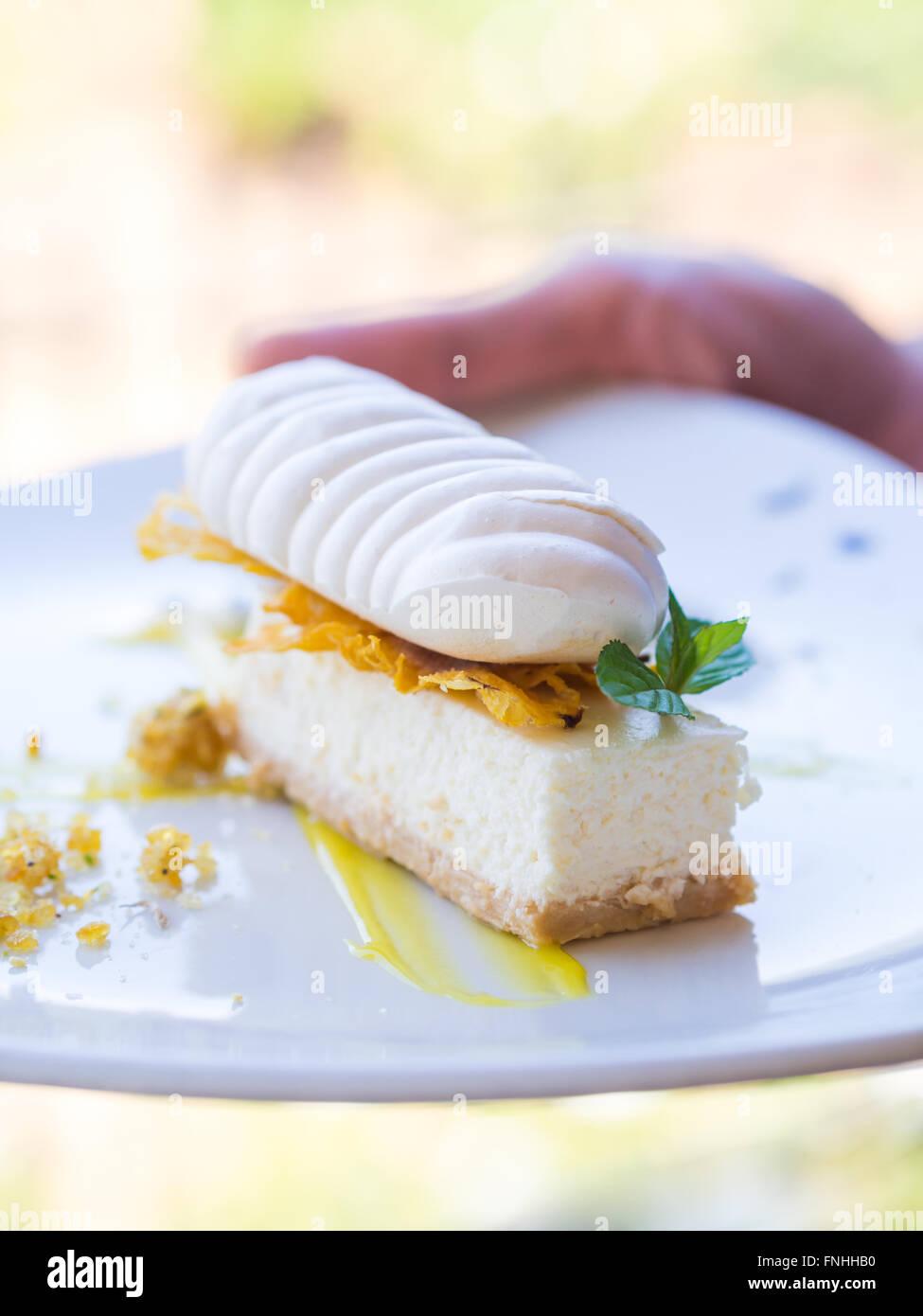 Pineapple fridge cheesecake. - Stock Image