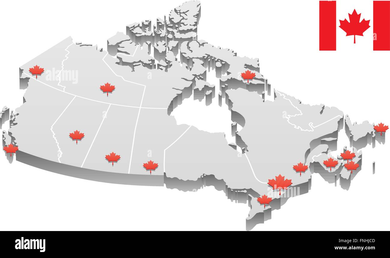 Map Of Canada Territories.3d Map Of Canada Showing Capitals Of Provinces And Territories As
