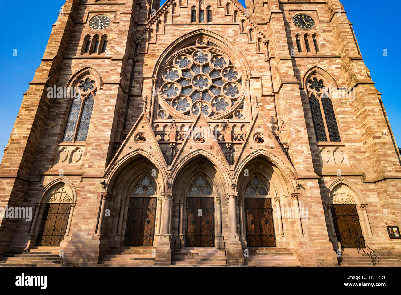 Portals and rose window of St Paul protestant church 19th century, Strasbourg, Alsace, France - Stock Image