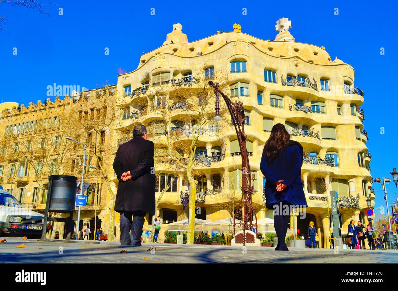 Casa Mila aka La Pedrera, designed by architect Antoni Gaudi. Barcelona, Catalonia, Spain. Stock Photo