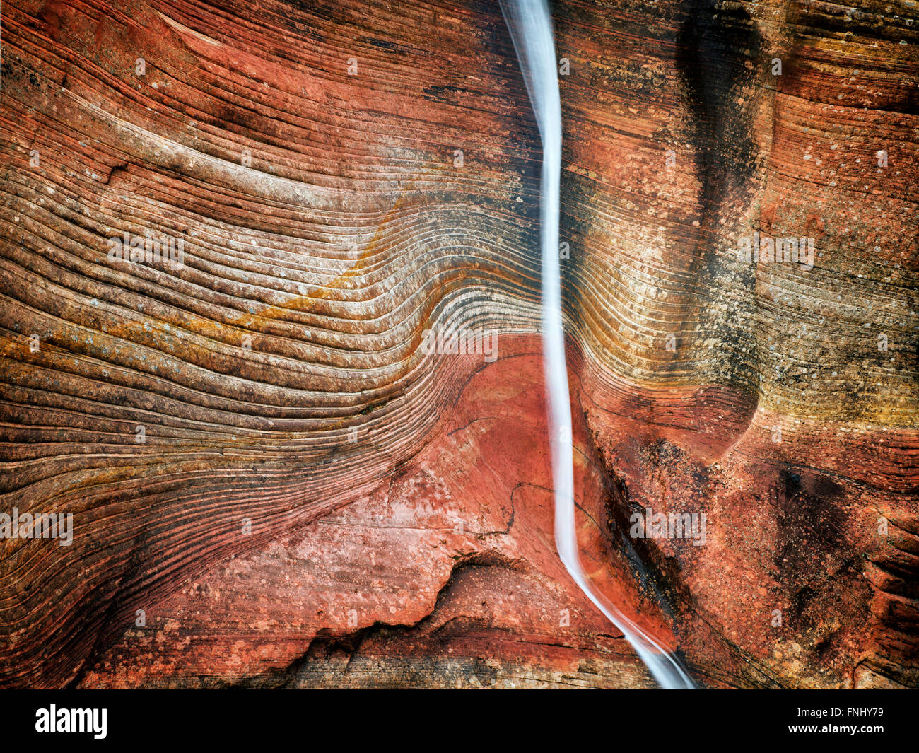 A stream lasting only hours after a rainstorm in Zion National Park, Utah - Stock Image