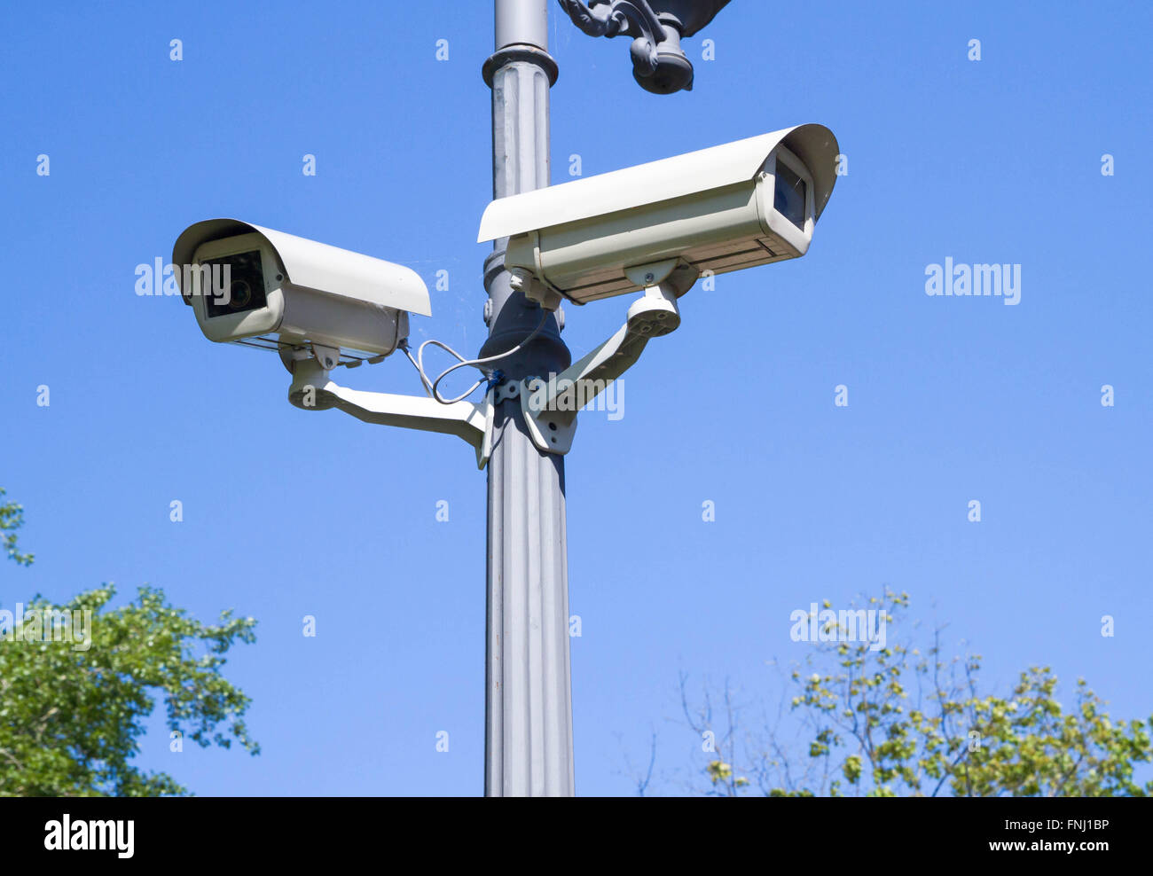 Surveillance camera on the electric pole - Stock Image