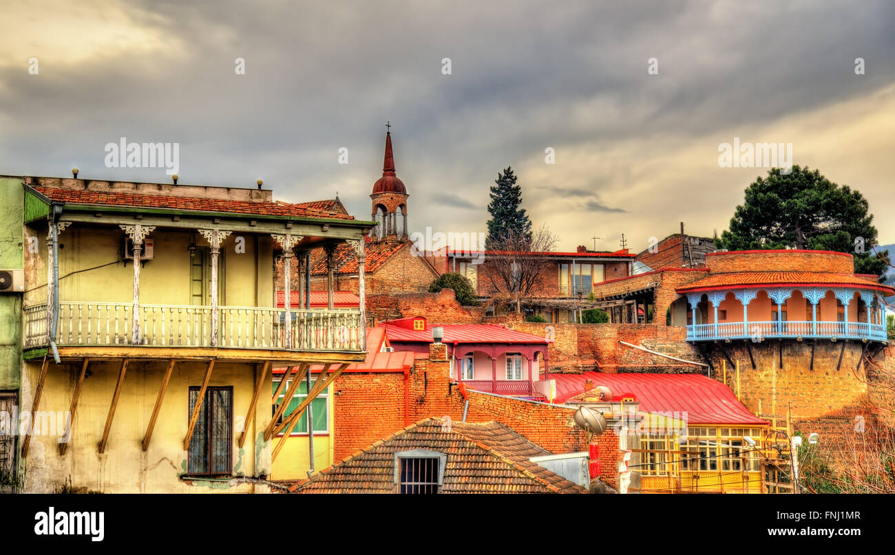Buildings in the old town of Tbilisi Stock Photo