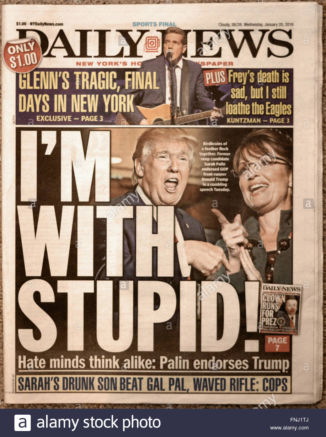 2016 headline from the New York Daily News mocking Donald Trump after Trump's endorsement by Sarah Palin, - Stock Image