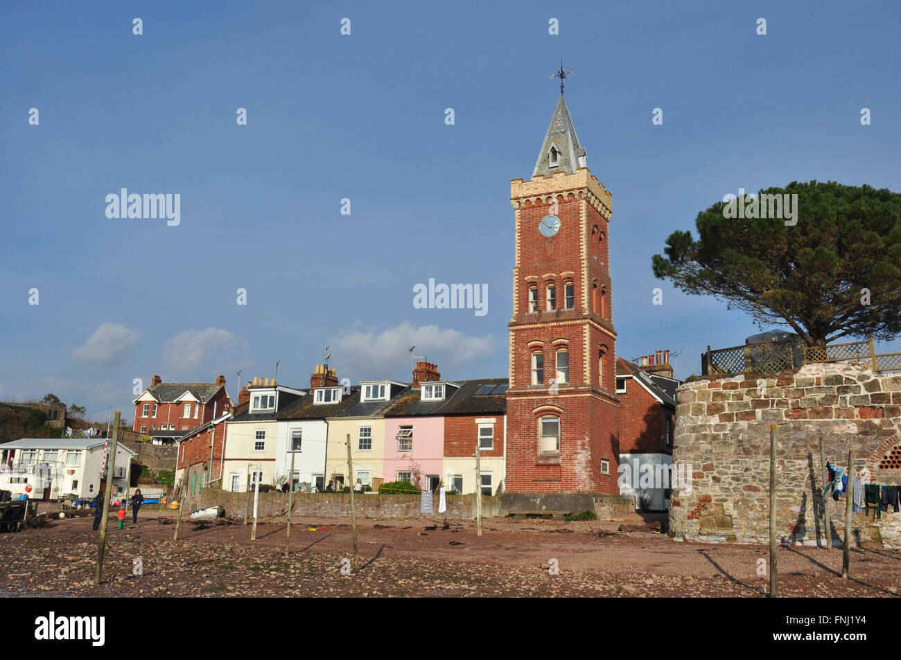 Sea Front Cottages and Peters Tower, Lympstone, Devon, England, UK - Stock Image