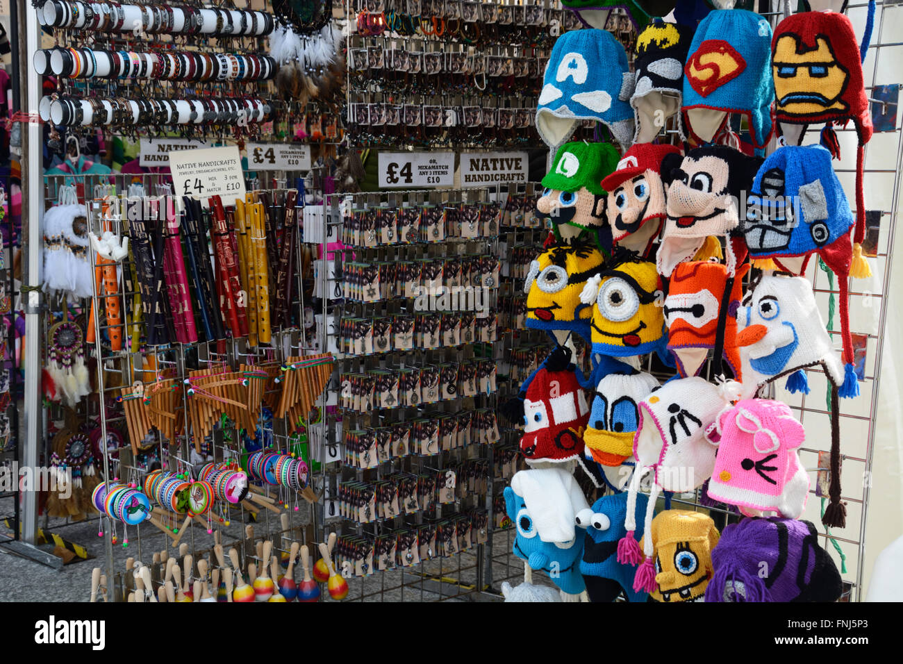 Knitted hats, at craft market, Nottingham. - Stock Image