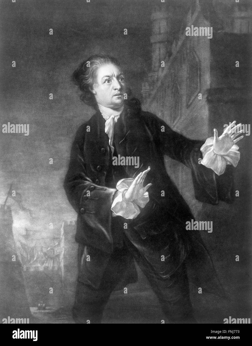 The 18thC actor, playwright and theatre manager, David Garrick, in the role of Hamlet. Engraving by James McArdell - Stock Image