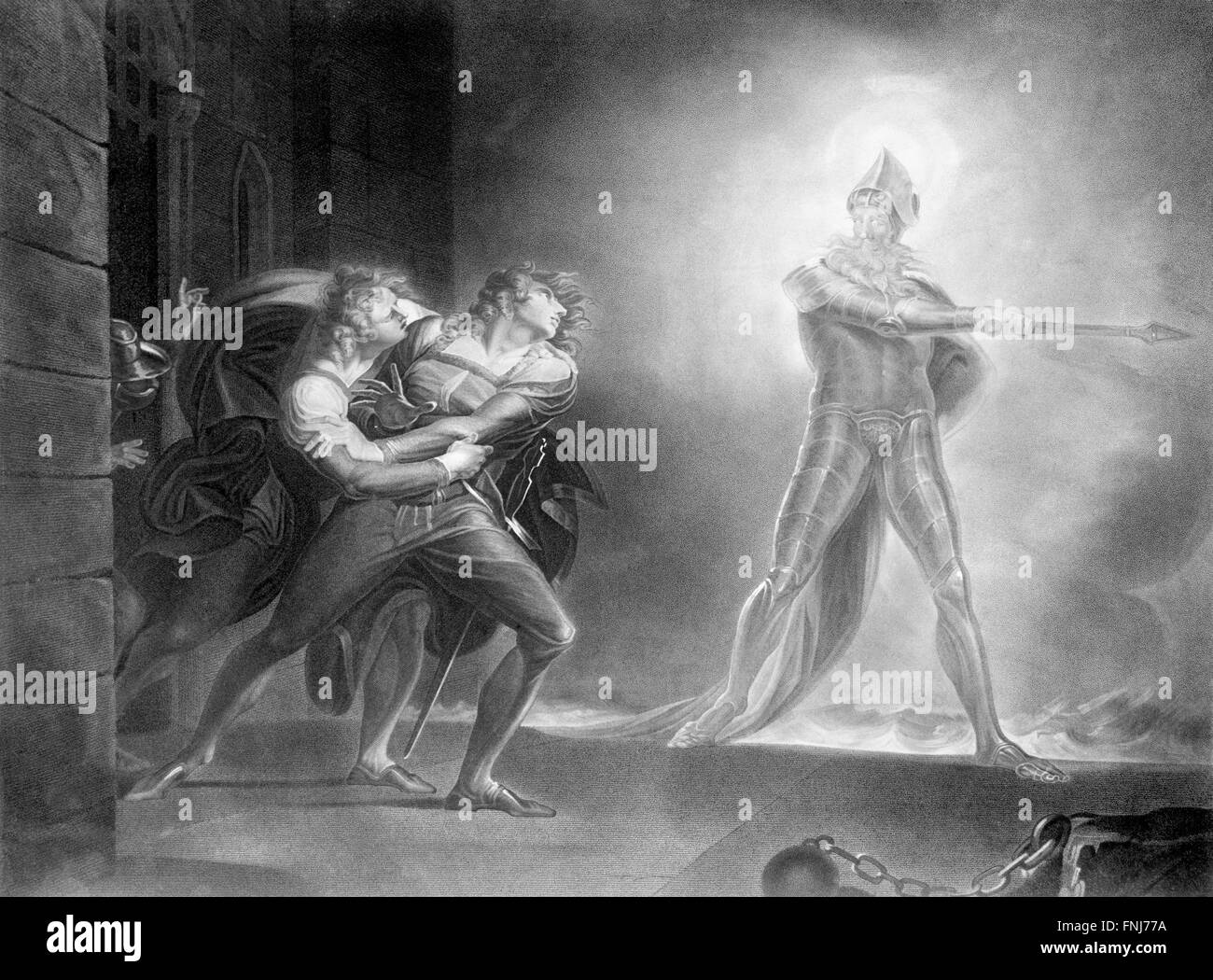 Hamlet, Horatio, Marcellus, and the Ghost in front of the Palace of Elsinor. from a painting by Henry Fuseli, 1796 - Stock Image