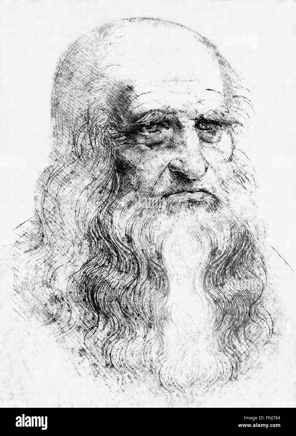 Leonardo da Vinci, digitally derived from a supposed self-portrait in red chalk c.1512 - Stock Image