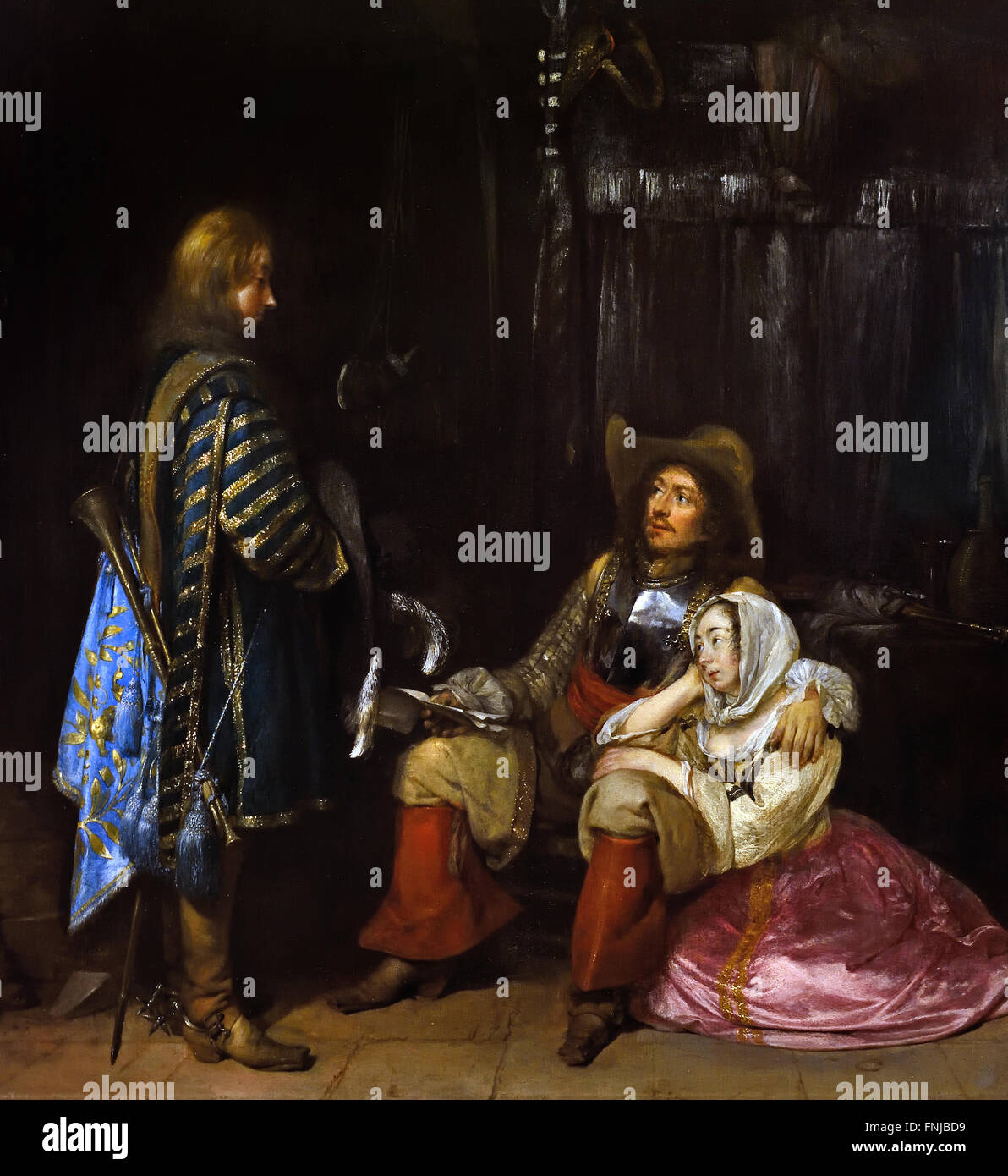 The Messenger ( Unwelcome News ) 1653 Gerard ter Borch 1617-1681 Dutch Netherlands Dutch Netherlands - Stock Image