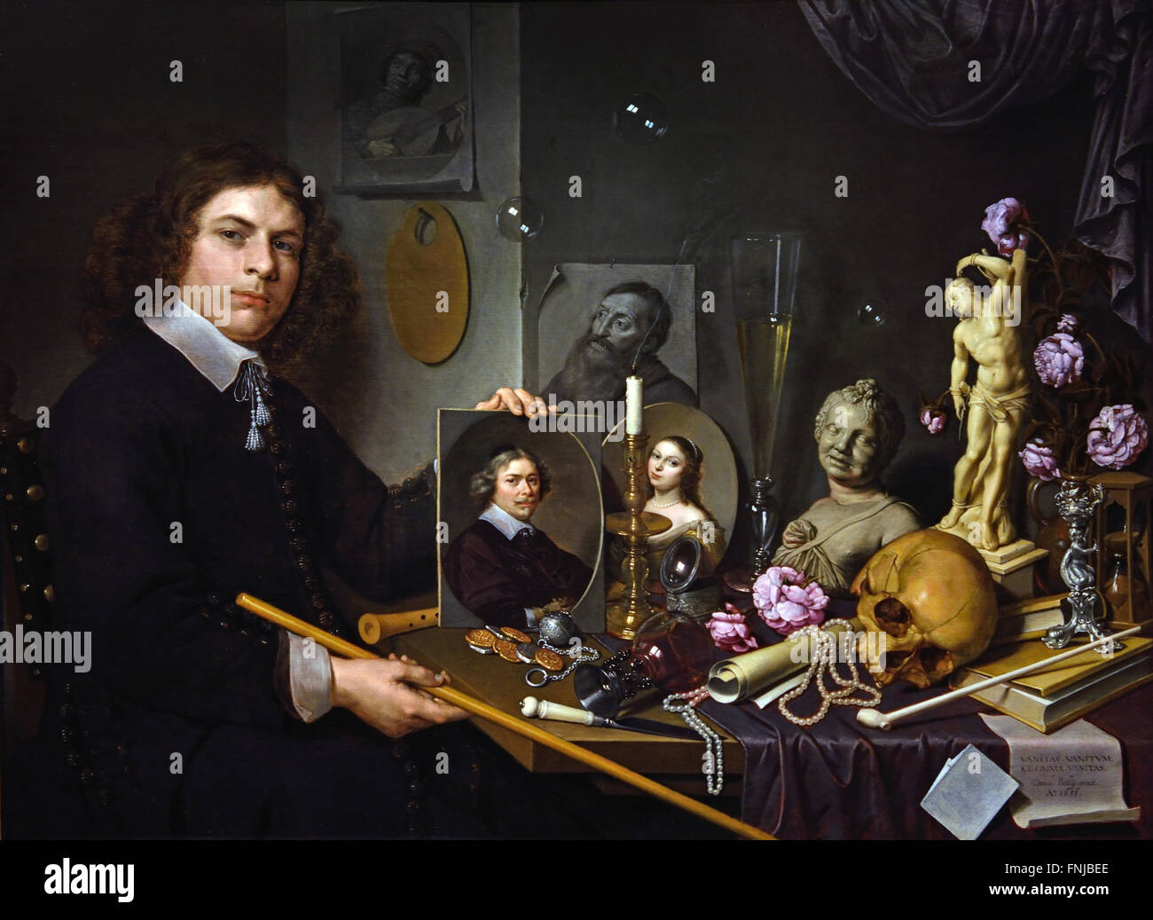 Vanitas still life with a self portrait 1651 of the young painter David Bailly  1584 - 1657 Dutch Netherlands ( - Stock Image