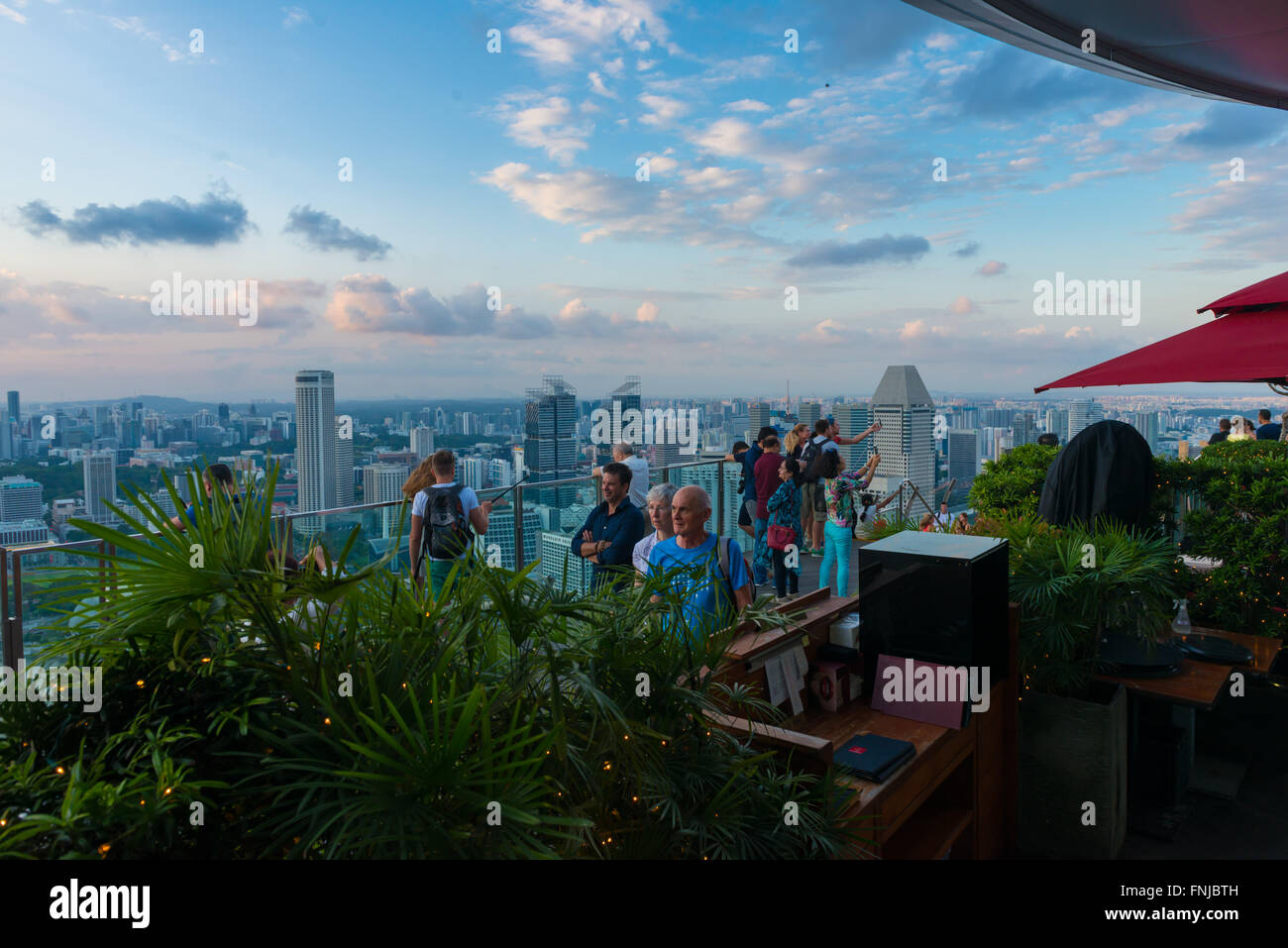 Skypark observation deck and Sky Bar Ce La Vi In Marina Bay Sands hotel, Singapore - Stock Image