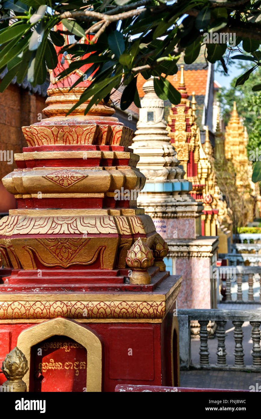 Row of Buddhist tombs, Preah Prohm Rath Monastery and Buddhist Center, Siem Reap, Cambodia - Stock Image