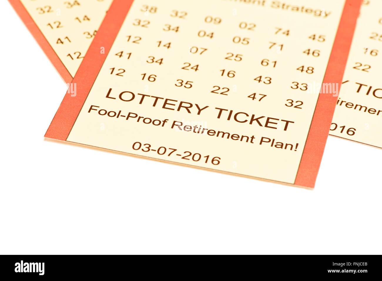 Lottery ticket retirement plan on white background. - Stock Image