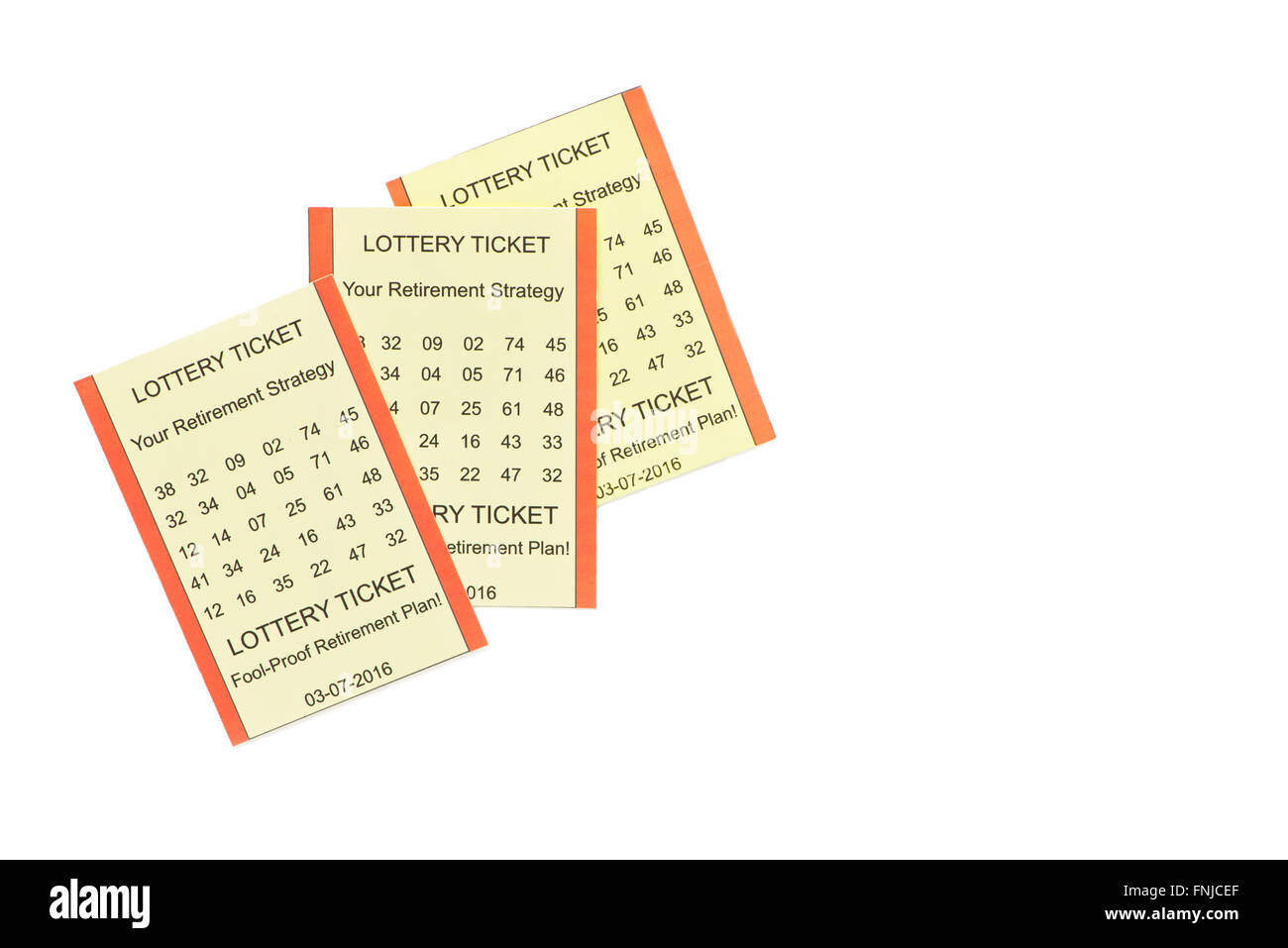 Lottery retirement plan tickets on white background with copy space on right. - Stock Image