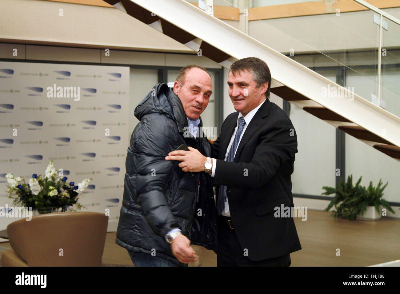 Udine, Italy. 15th Mar, 2016. Udinese's Head Coach Luigi De Canio (R) with Franco Causio ex football player during Stock Photo