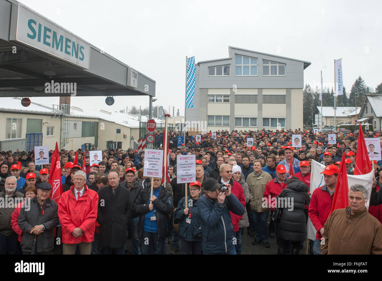 Ruhstorf, Germany  15th Mar, 2016  Siemens employees attend a rally