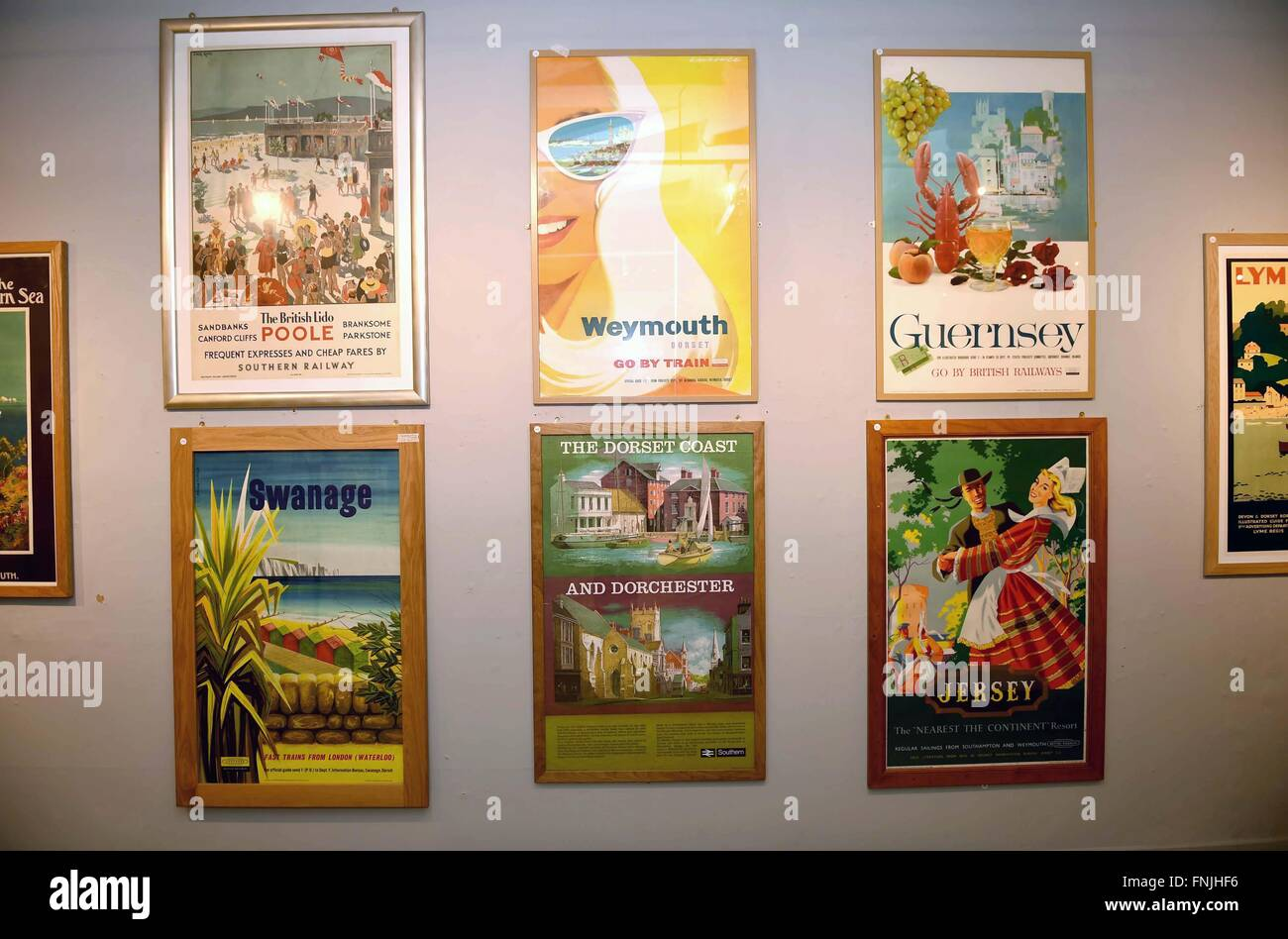Railway advertisement posters, Dorset County Museum's exhibition, 'Speed to the West: A Nostalgic Journey' - Stock Image