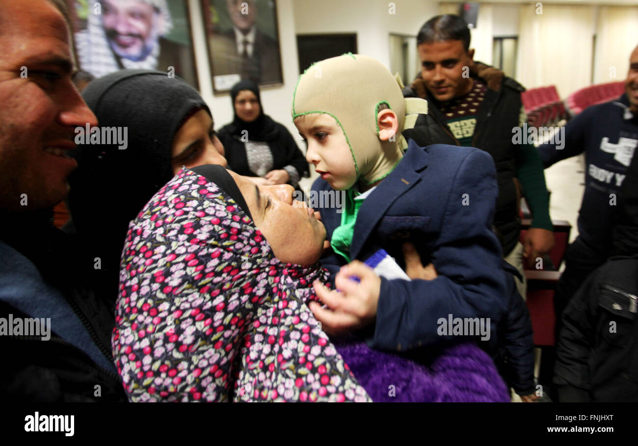 Nablus, West Bank, Palestinian Territory. 15th Mar, 2016. Five-year-old Ahmed Dawabsha, a Palestinian boy who survived - Stock Image