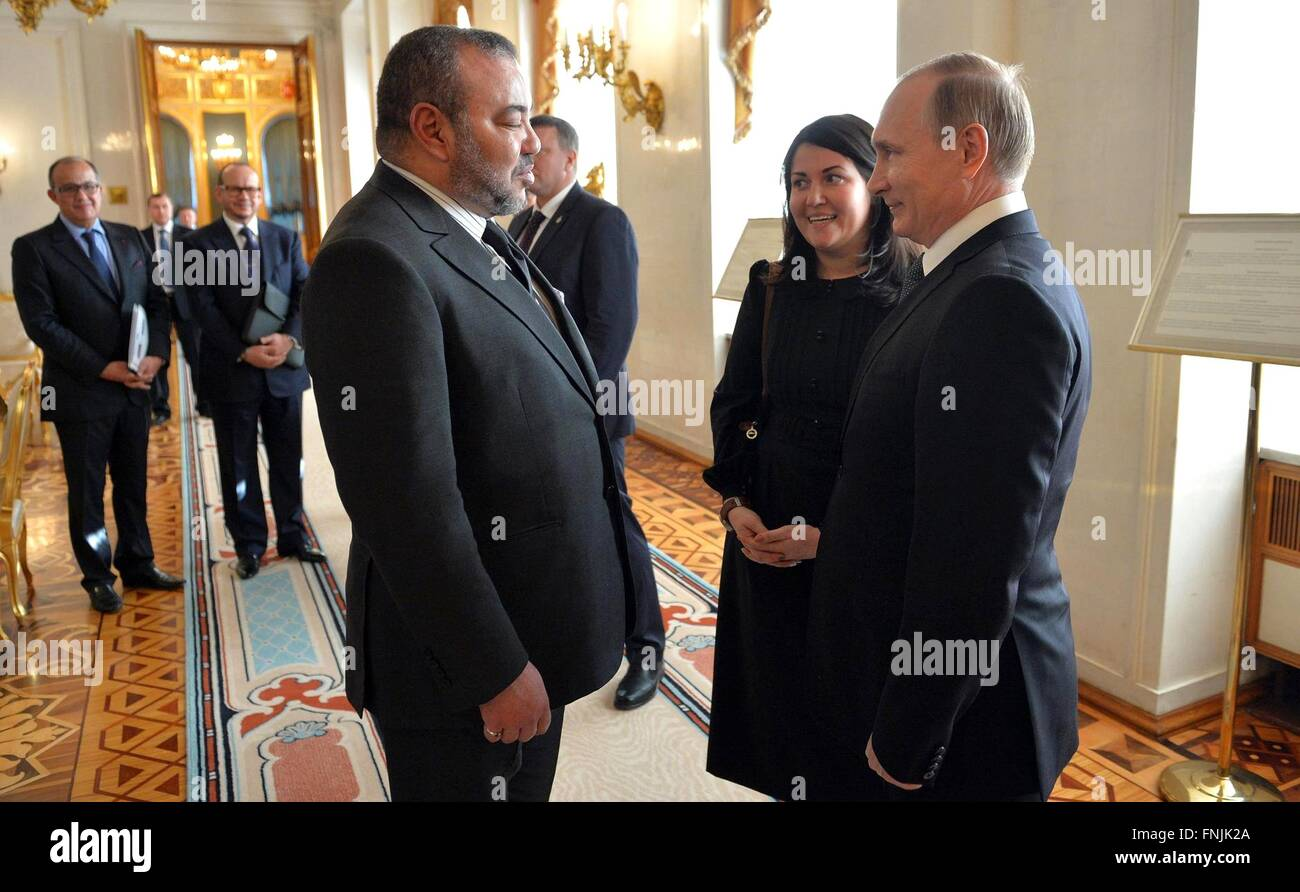 Moscow, Russia. 15th March, 2016. Russian President Vladimir Putin talks with King Mohammed VI of Morocco following - Stock Image